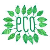 Den gröna ecoen undertecknar in med den växande sidor, vektoretiketten och etiketten, ekologisk begreppsklistermärke Vektor Illustrationer