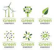 Göra grön energilogouppsättningen Arkivfoto
