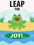 Den gröna grodan hoppar för Joy Illustration Arkivfoto