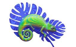 Den gröna kameleonten på blått förgrena sig, tolkningen 3d siktssida Fotografering för Bildbyråer