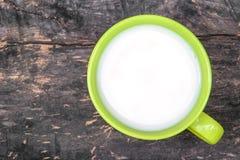 Den gröna keramiska koppen med organiskt mjölkar royaltyfri foto