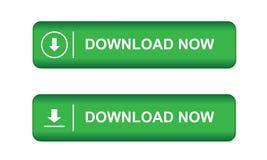 Den gröna knappen på websites och e-shoppar in med en pil och ordnedladdningen som isoleras nu på vit bakgrund Arkivbild