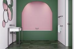 Den gröna moderna badruminre, badar, sjunker Arkivbild