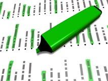 Den gröna pennmarkören på en lista med något markerade beståndsdelar Arkivfoton