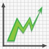 Den gröna pilen går upp i graf stock illustrationer
