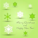 Den gröna snowflaken att gifta sig julkortet royaltyfri illustrationer