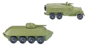 Den gröna sovjet tankar leksaken som isoleras på vit royaltyfri foto