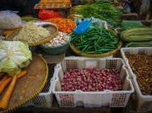 Den gröna specerihandlaren säljer den olika sorten av grönsaker, örter och kryddor på den traditionella marknaden i Jakarta Indon arkivbild