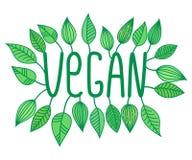 Den gröna strikt vegetarian undertecknar in med den växande sidor, vektoretiketten och etiketten, vegetarisk begreppsklistermärke Stock Illustrationer