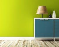 Den gröna väggen och kabinettet dekorerar vektor illustrationer