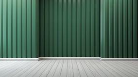 Den gröna väggen och vit däckar inredesign, tomt rum /3d framför Arkivbilder