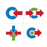 Den grafiska beståndsdelsamlingen med enkla pilar, affär framkallar Fotografering för Bildbyråer
