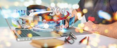 Den grafiska formgivaren som använder virtuell verklighetexponeringsglasteknologi 3D, ren royaltyfri illustrationer
