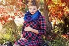 Den gravida flickan bär den rutiga klänningen parkerar in Royaltyfria Bilder
