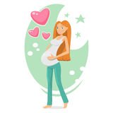Den gravida flickan som rymmer henne, behandla som ett barn i buk Royaltyfri Fotografi