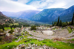 Den grekiska forntida amfiteatern Royaltyfri Foto