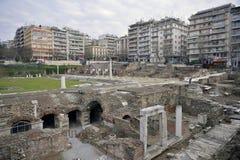 Den grekiska marknadsplatsen och Roman Forum, Thessaloniki, Grekland Royaltyfria Bilder