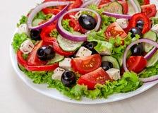 Den grekiska och italienska maten - sallad för ny grönsak Royaltyfri Fotografi