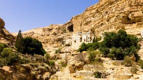 Den grekiska ortodoxa kloster av St George i Wadi Qelt, Israel Arkivfoto