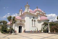 Den grekiska ortodoxa kyrkan av de heliga apostlarna, Capernaum, Israe Royaltyfria Foton