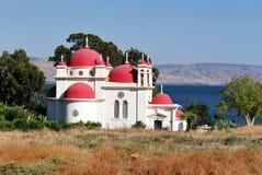 Den grekiska ortodoxkyrkan i Capernaum Arkivbild