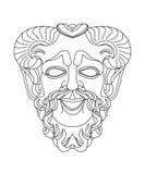 Den grekiska scenisken maskerar av satyr Arkivfoto
