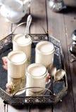 Den grekiska yoghurten i exponeringsglas skorrar på ett metalltappningmagasin Royaltyfria Bilder