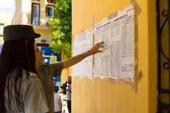 Den Grekland krisen, folkomröstning röstar Fotografering för Bildbyråer