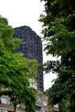 Den Grenfell tornbranden Arkivfoto