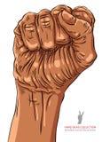 Den grep hårt om näven rymde höjdpunkt i protesthandtecknet, afrikan Arkivfoton