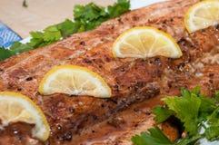 Den grillade röda fisken dekorerade med gröna persilja- och gulingskivor av citronen royaltyfria bilder