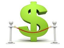 Den gröna dollaren undertecknar bakom av röd repbarriär Royaltyfri Bild