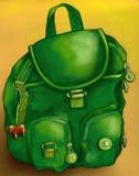 Den gröna skolväskan skissar Arkivbilder