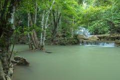 Den gröna vattenfallet i djup skog, den Erawan vattenfallet lokaliserade Kanchan Fotografering för Bildbyråer