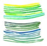 Den gröna vattenfärgen gör randig den handgjorda illustrationen Royaltyfri Bild