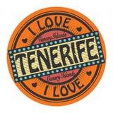 Den Grungefärgstämpeln eller etiketten med text älskar jag Tenerife stock illustrationer
