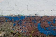 Den Grungy spruckna väggstuckaturen med mossa åldrades bakgrund, riden ut textur Arkivbilder