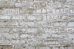 Den Grungy tappningväggen med den gamla stuckaturen för stenen åldrades bakgrund Royaltyfri Foto