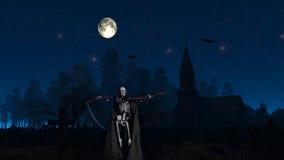Den grymma skördemaskinen på kyrkogården natten arkivfoto