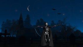 Den grymma skördemaskinen på kyrkogården natten Arkivfoton