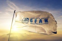 Den GUAM organisationen för tyg för torkduken för demokrati- och ekonomisk utvecklingflaggatextilen som vinkar på den bästa solup vektor illustrationer