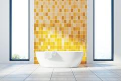 Den gula badruminre, badar och fönster Royaltyfria Foton