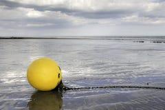 Den gula bojet strandade på stranden i våt sand Arkivbild