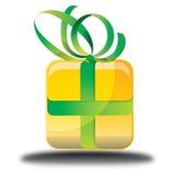 Den gula gåvan shoppar direktanslutet symbolen Arkivfoton