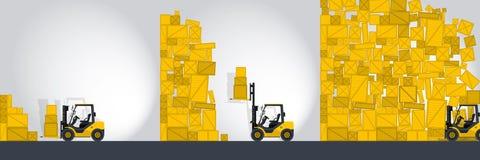 Den gula gaffeltruckladdaren arbetar i lagret - komikerremsa Royaltyfria Bilder