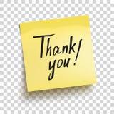 Den gula klibbiga anmärkningen med text` tackar dig! `, vektor Royaltyfria Foton