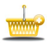Den gula påsen shoppar direktanslutet symbolen Arkivfoto