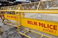 Den gula polisen barrikaderar arkivbild