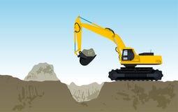 Den gula stora grävaren bygger gigging för vägar av hålet Royaltyfri Foto