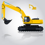 Den gula stora grävaren bygger vägar Att gräva av sand, kol, avfalls vaggar och grus stock illustrationer